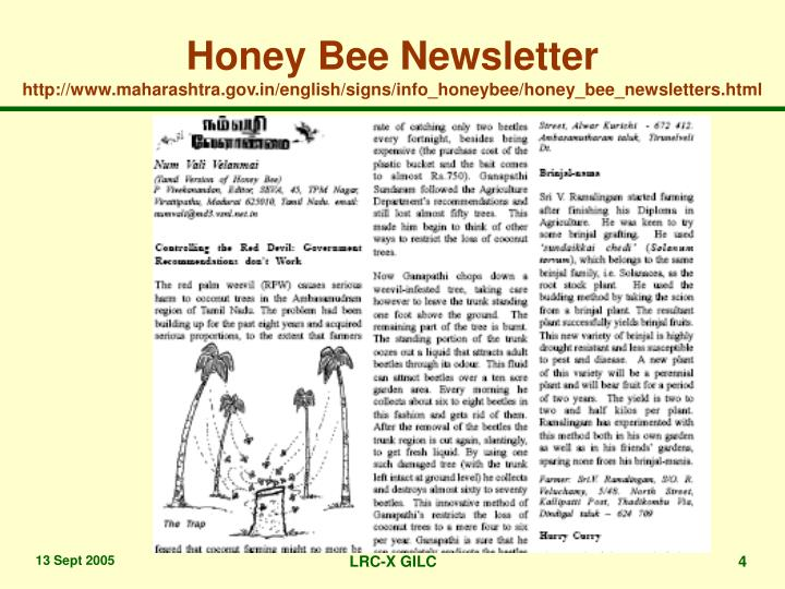 Honey Bee Newsletter