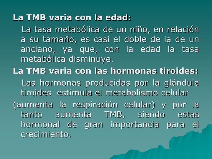 La TMB varia con la edad: