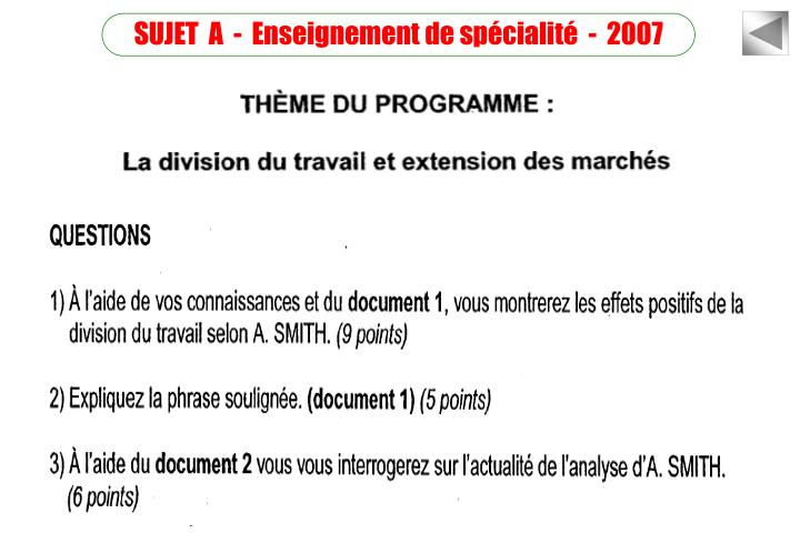 SUJET  A  -  Enseignement de spécialité  -  2007