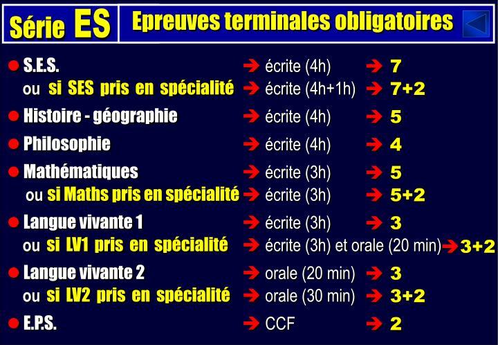 Epreuves terminales obligatoires