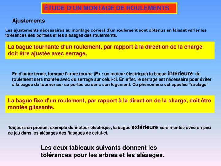 ÉTUDE D'UN MONTAGE DE ROULEMENTS