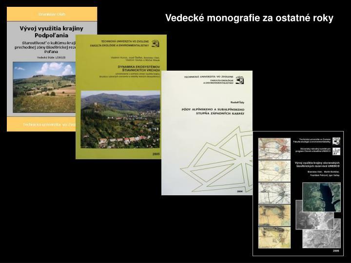 Vedecké monografie za ostatné roky