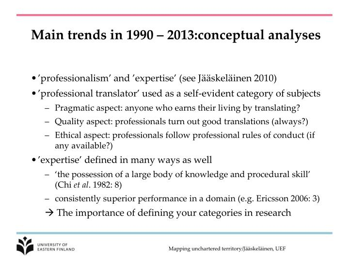 Main trends in 1990 – 2013:conceptual analyses