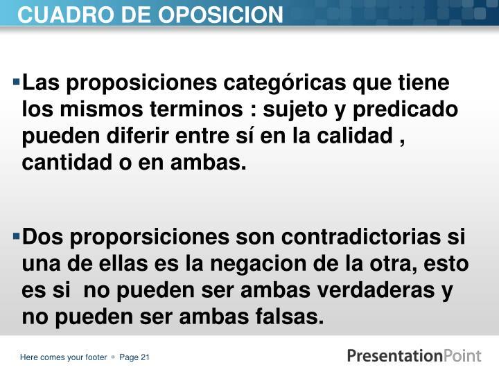 Las proposiciones categóricas que tiene los mismos terminos : sujeto y predicado pueden diferir entre sí en la calidad , cantidad o en ambas.