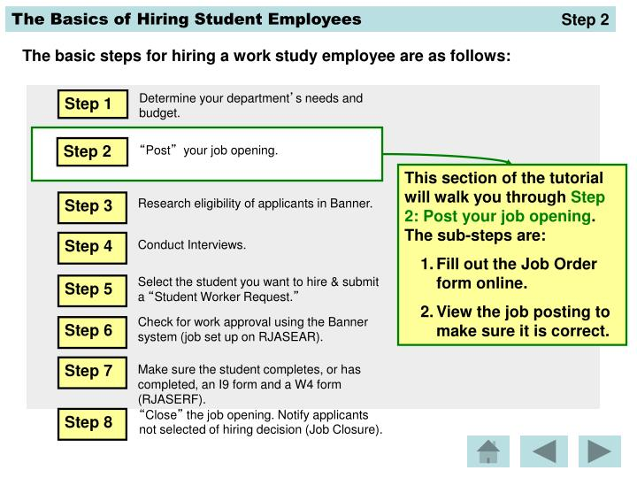PPT - The basic steps for hiring a work study employee are