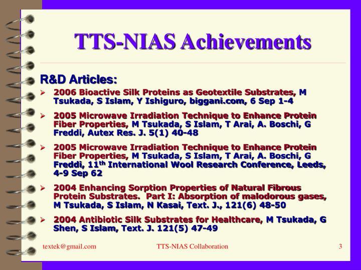 Tts nias achievements