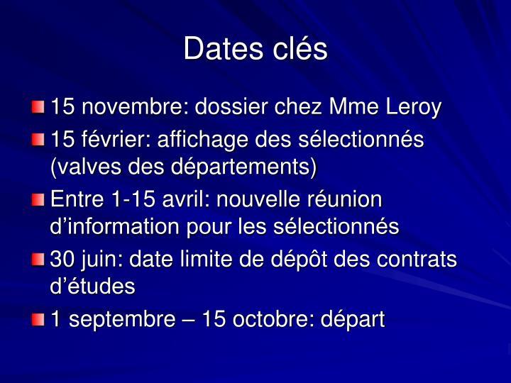 Dates clés