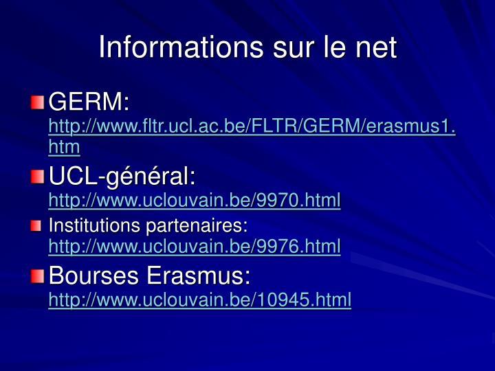 Informations sur le net