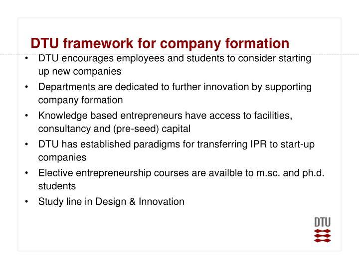 DTU framework for company formation