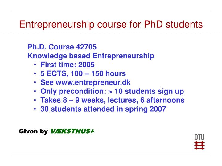 Entrepreneurship course for PhD students