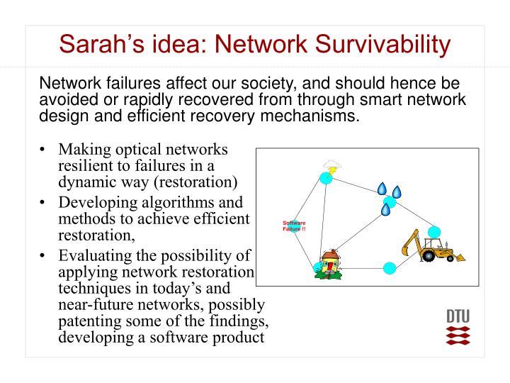 Sarah's idea: Network Survivability
