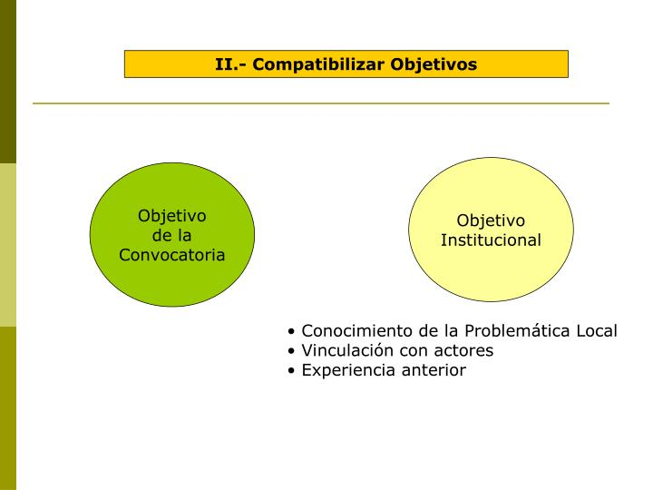 II.- Compatibilizar Objetivos