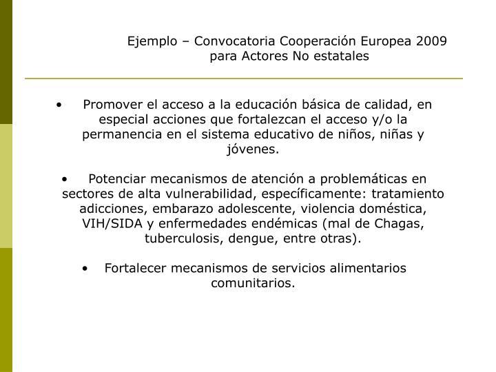 Ejemplo – Convocatoria Cooperación Europea 2009