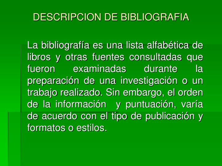 Descripcion de bibliografia