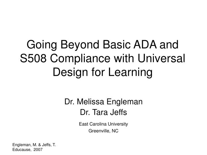 Going beyond basic ada and s508 compliance with universal design for learning