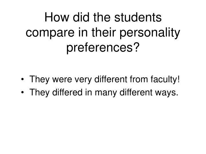 How did the students compare in their personality preferences?