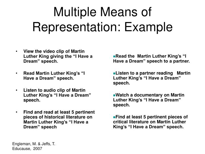 Multiple Means of Representation: Example