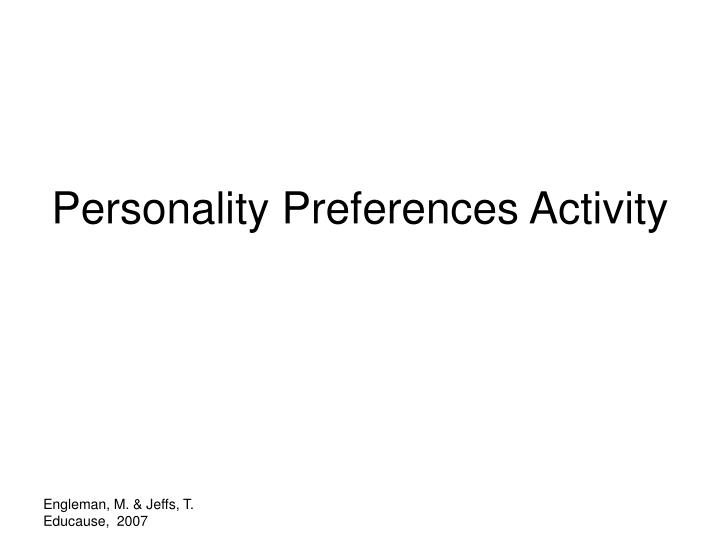Personality Preferences Activity
