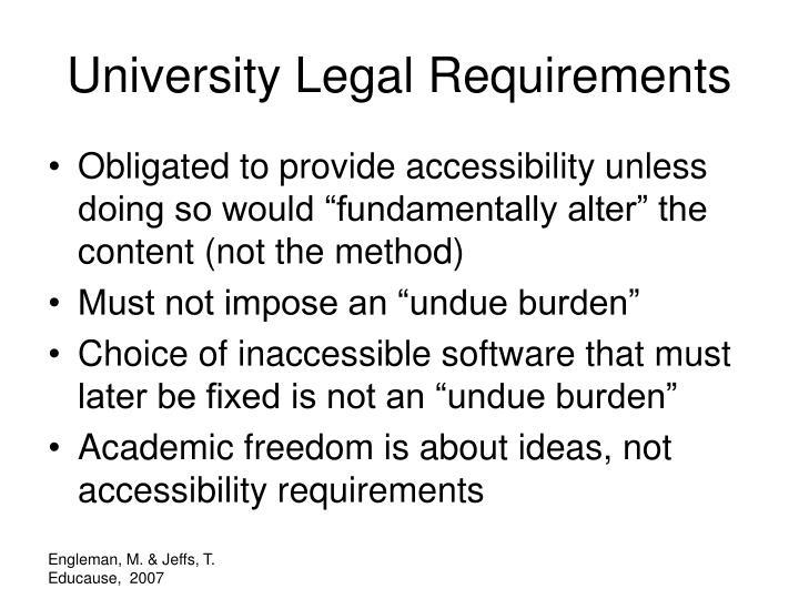 University Legal Requirements