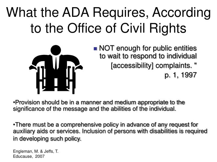 What the ADA Requires, According to the Office of Civil Rights