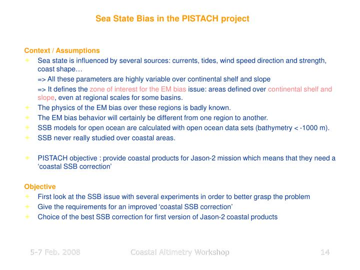 Sea State Bias in the PISTACH