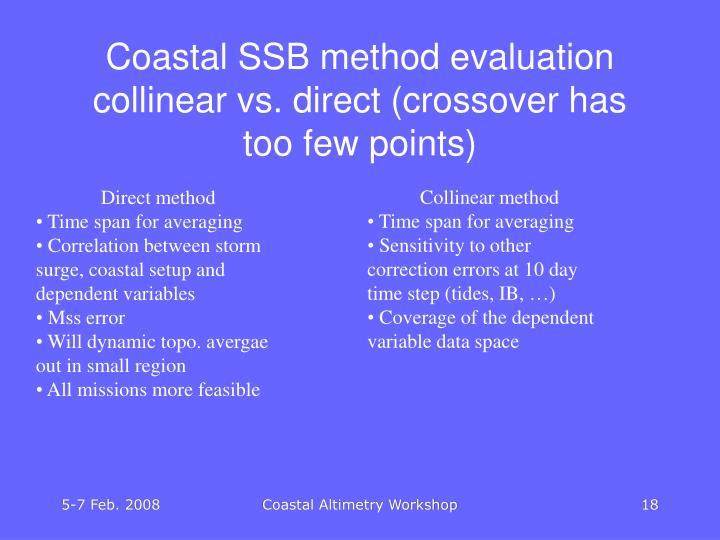 Coastal SSB method evaluation