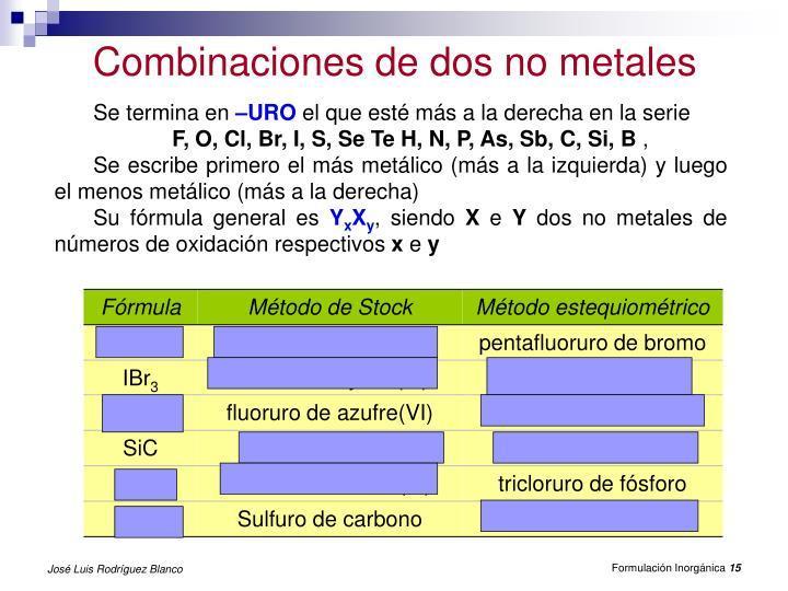 Combinaciones de dos no metales