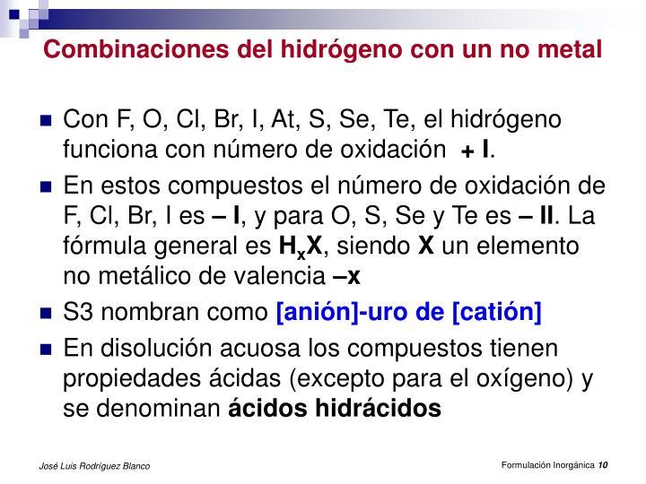 Combinaciones del hidrógeno con un no metal