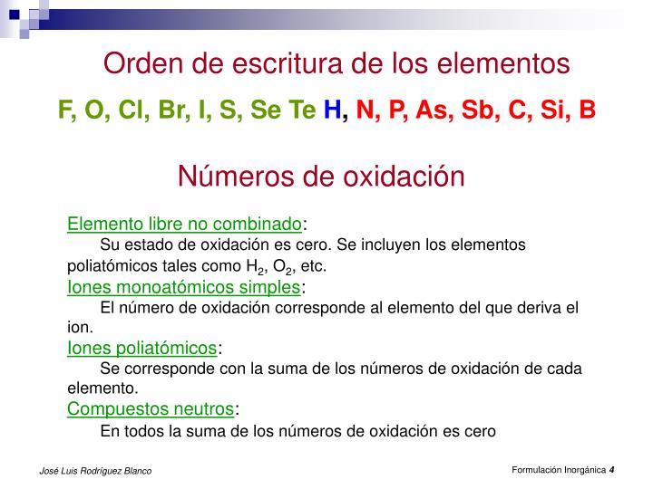 Orden de escritura de los elementos