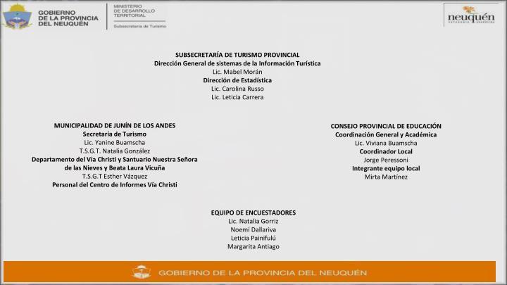 SUBSECRETARÍA DE TURISMO PROVINCIAL