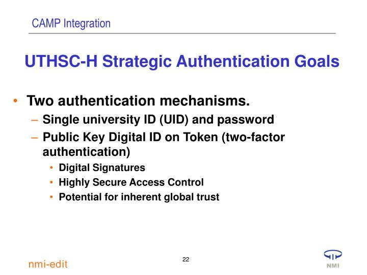 UTHSC-H Strategic Authentication Goals