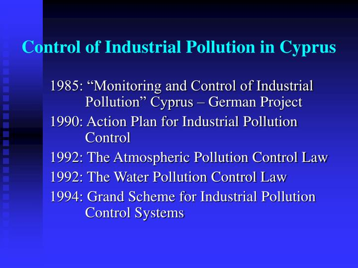 Control of industrial pollution in cyprus