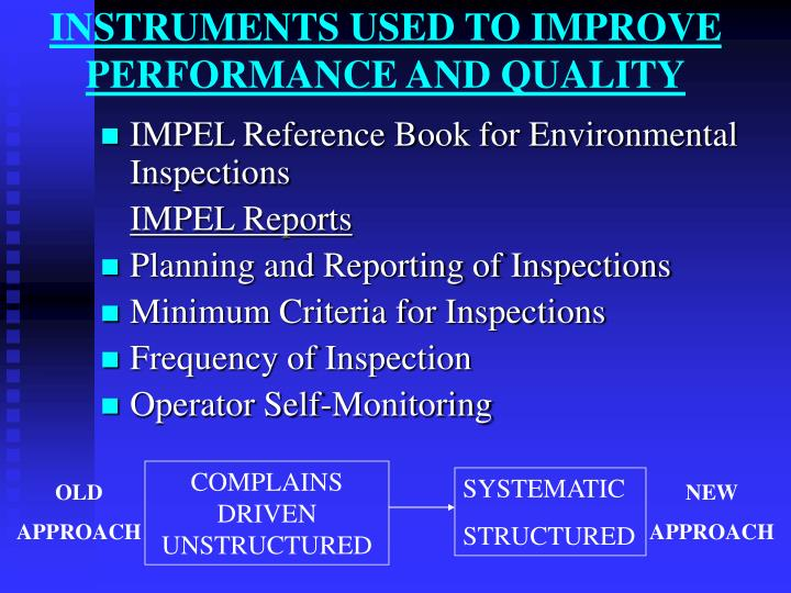INSTRUMENTS USED TO IMPROVE PERFORMANCE AND QUALITY