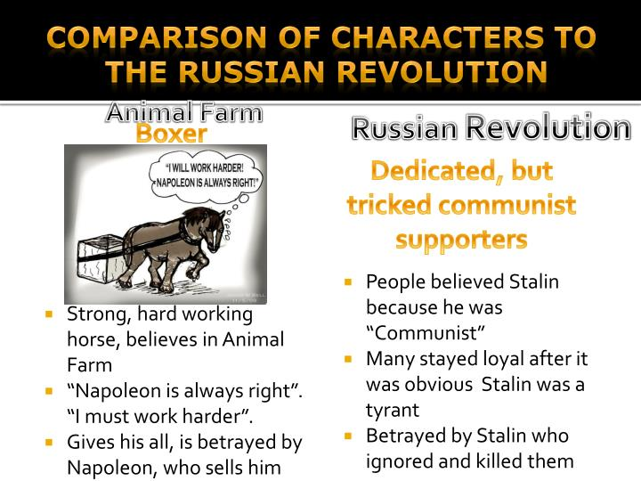 essays comparing animal farm to the russian revolution Mom/motif/society/ animal-farm-propaganda george orwell uses several types of   com/essays/comparing- propaganda-used-len-animal-farm-1356446.