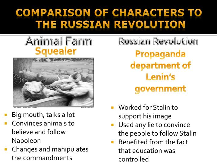 a comparison of the animal farm and the russian revolution similarities Vladimir ilich lenin was born on april 10  he was also the leader of russian revolution in the novel animal farm written by george orwell.