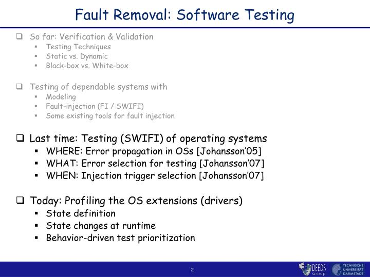 Fault removal software testing
