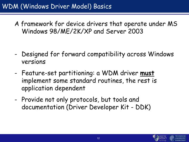 WDM (Windows Driver Model) Basics