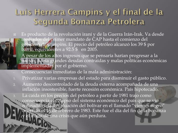 Luis herrera campins y el final de la segunda bonanza petrolera