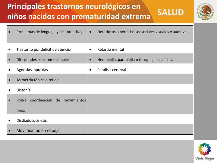 Principales trastornos neurológicos en