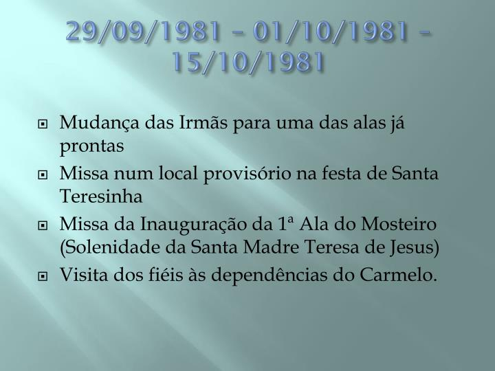 29/09/1981 – 01/10/1981 – 15/10/1981