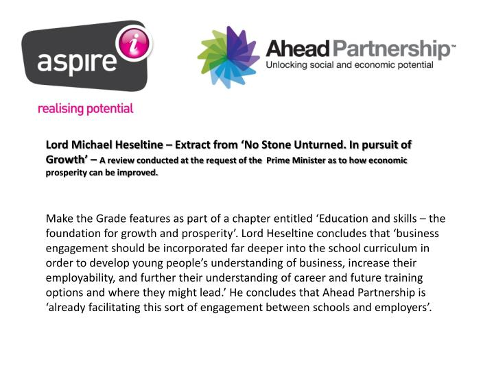 Lord Michael Heseltine – Extract from 'No Stone Unturned. In pursuit of Growth' –