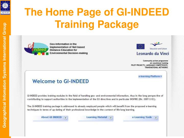 The Home Page of GI-INDEED Training Package