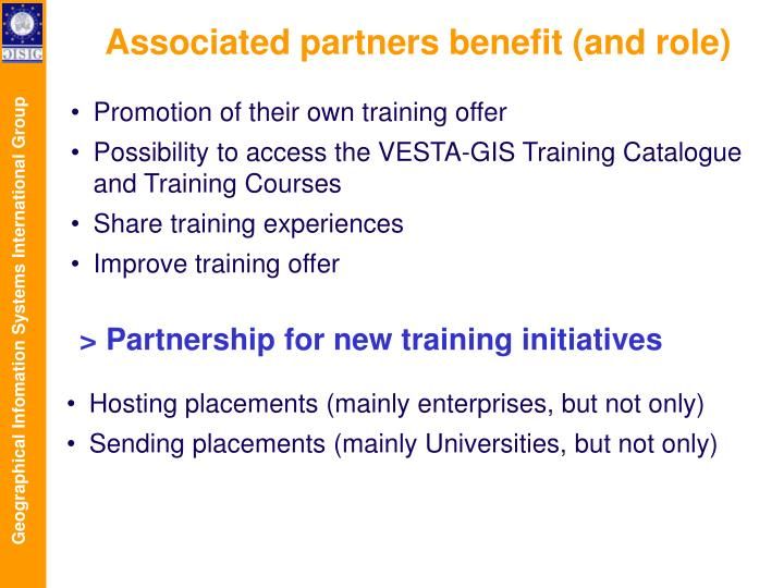 Associated partners benefit (and role)