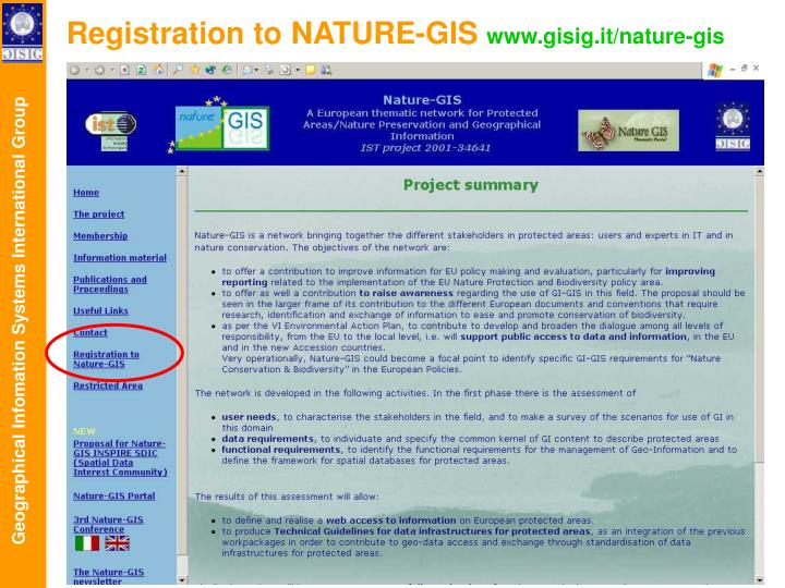 Registration to NATURE-GIS