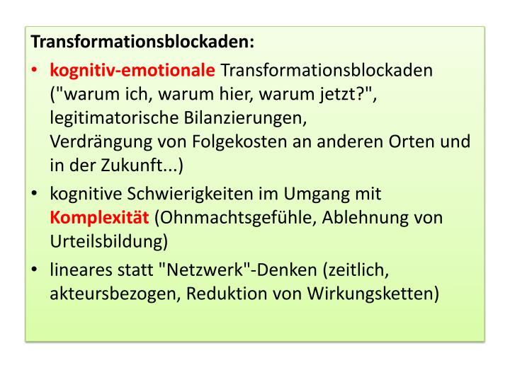 Transformationsblockaden: