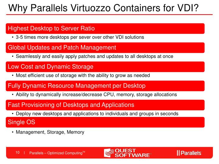 Why Parallels Virtuozzo Containers for VDI?