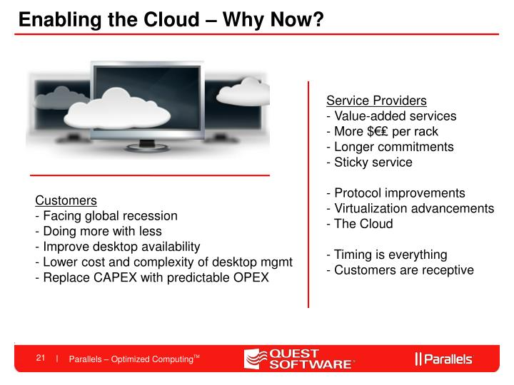 Enabling the Cloud – Why Now?