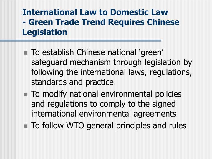 International Law to Domestic Law