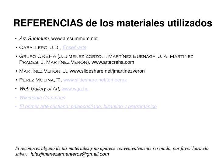 REFERENCIAS de los materiales utilizados