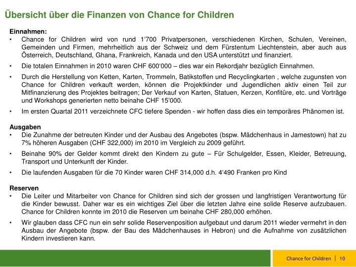 Übersicht über die Finanzen von Chance for Children
